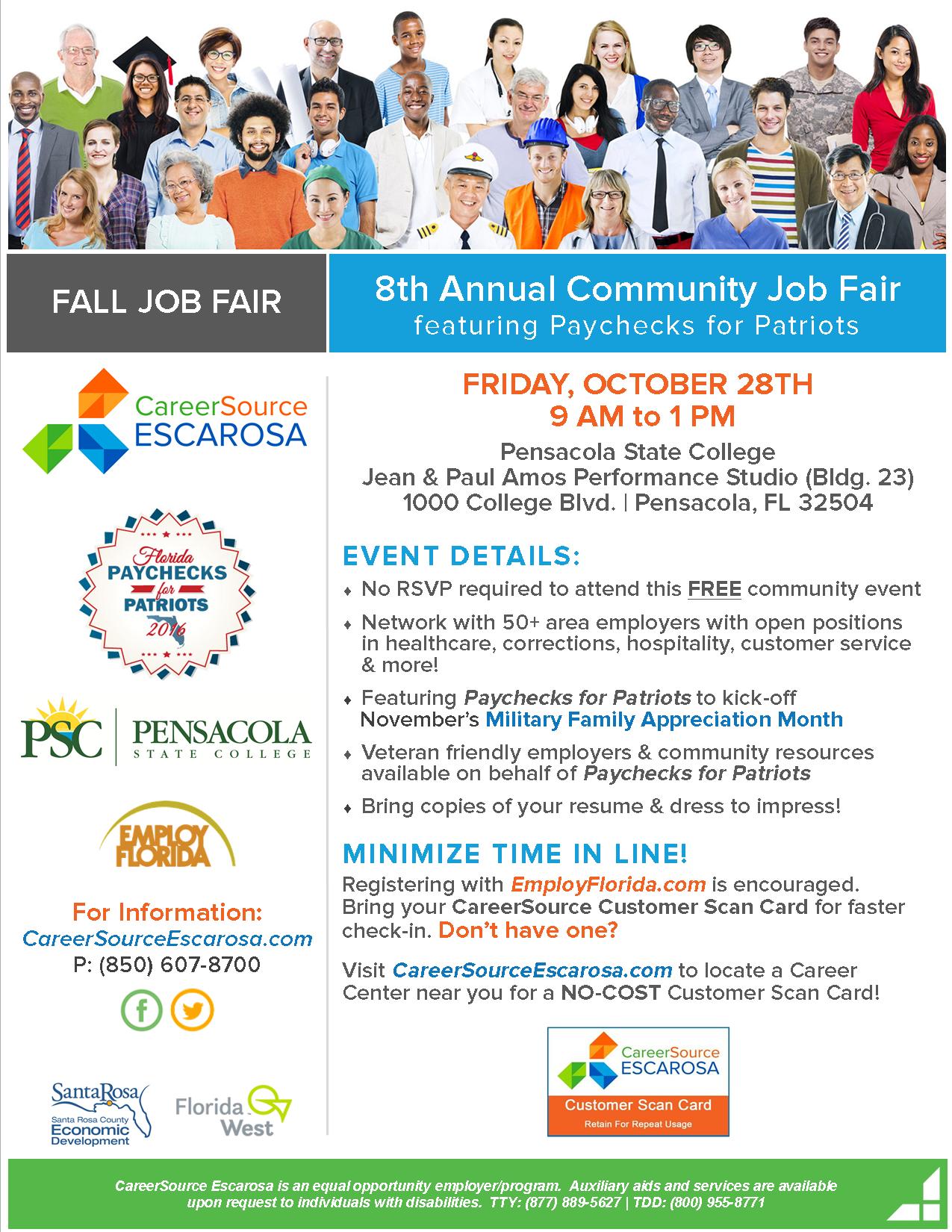 8th Annual Fall Job Fair featuring Paychecks for Patriots (October 28, 2016)