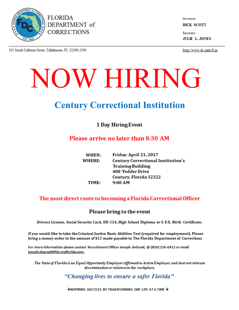 hot jobs careersource escarosa century correctional inst hiring event 4 21 2017 quigley