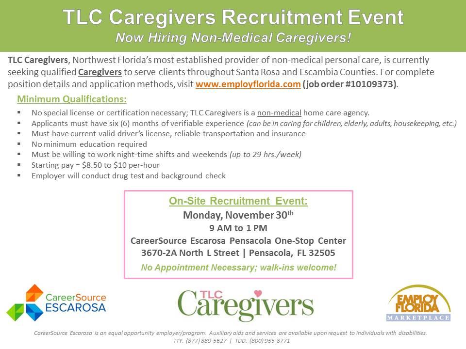 TLC Caregivers Hiring Event Flyer_PENSACOLA_11.30