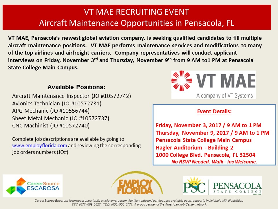VT MAE Flyer - CareerSource Escarosa